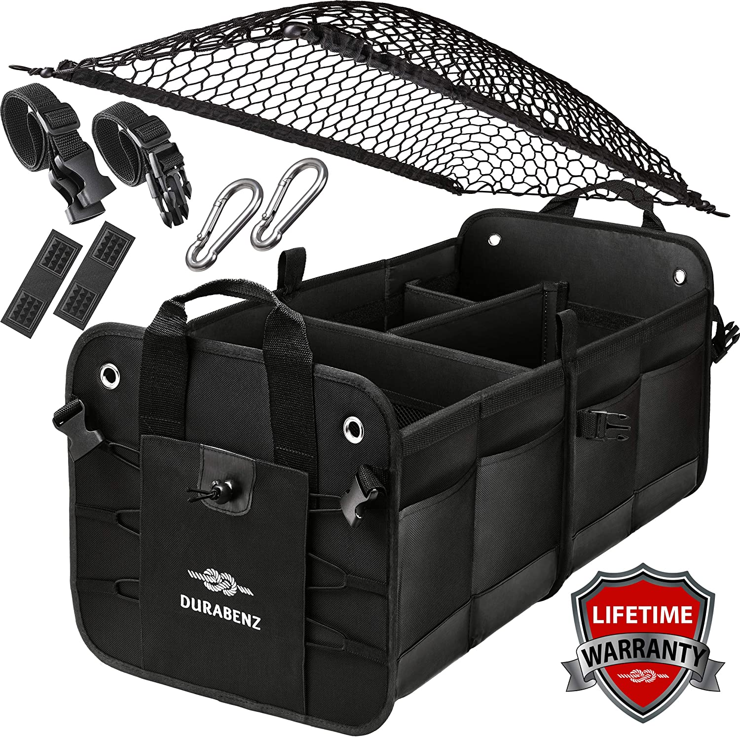 Car Trunk Organizer For SUV - Minivan - Sedan With Net Cover And Stainless Hooks - Black, Durabenz