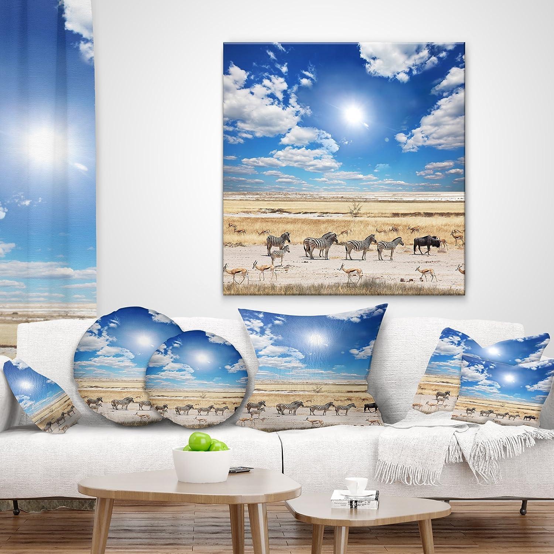 Designart CU12242-18-18 Wandering Zebras Under Bright Sky Landscape Printed Cushion Cover for Living Room Sofa Throw Pillow 18 x 18