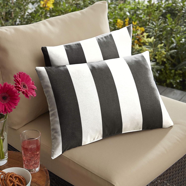 1101Design Sunbrella Cabana Classic Decorative Indoor Outdoor Lumbar Throw Pillows, Perfect for Patio D cor, Black White Stripe 12 x18 – Set of 2