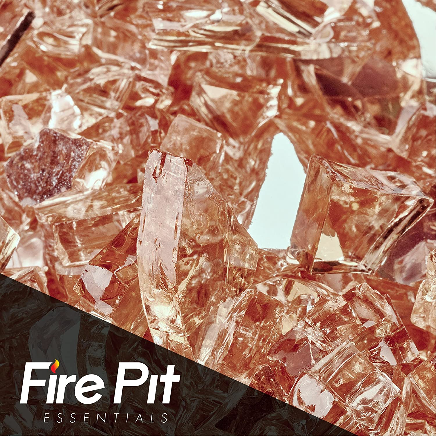 Champagne Reflective Fire Glass 1/4 Firepit Glass Premium 10 Pounds Great for Fire Pit Fireglass or Fireplace Glass Fire Pit Essentials