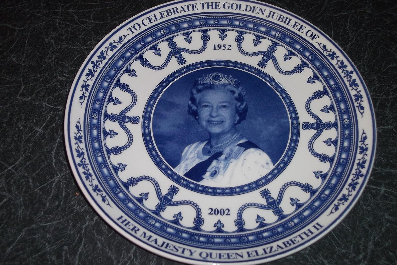 WEDGWOOD PLATE GOLDEN JUBILEE PLATE QUEEN ELIZABETH II. GOLDEN ...