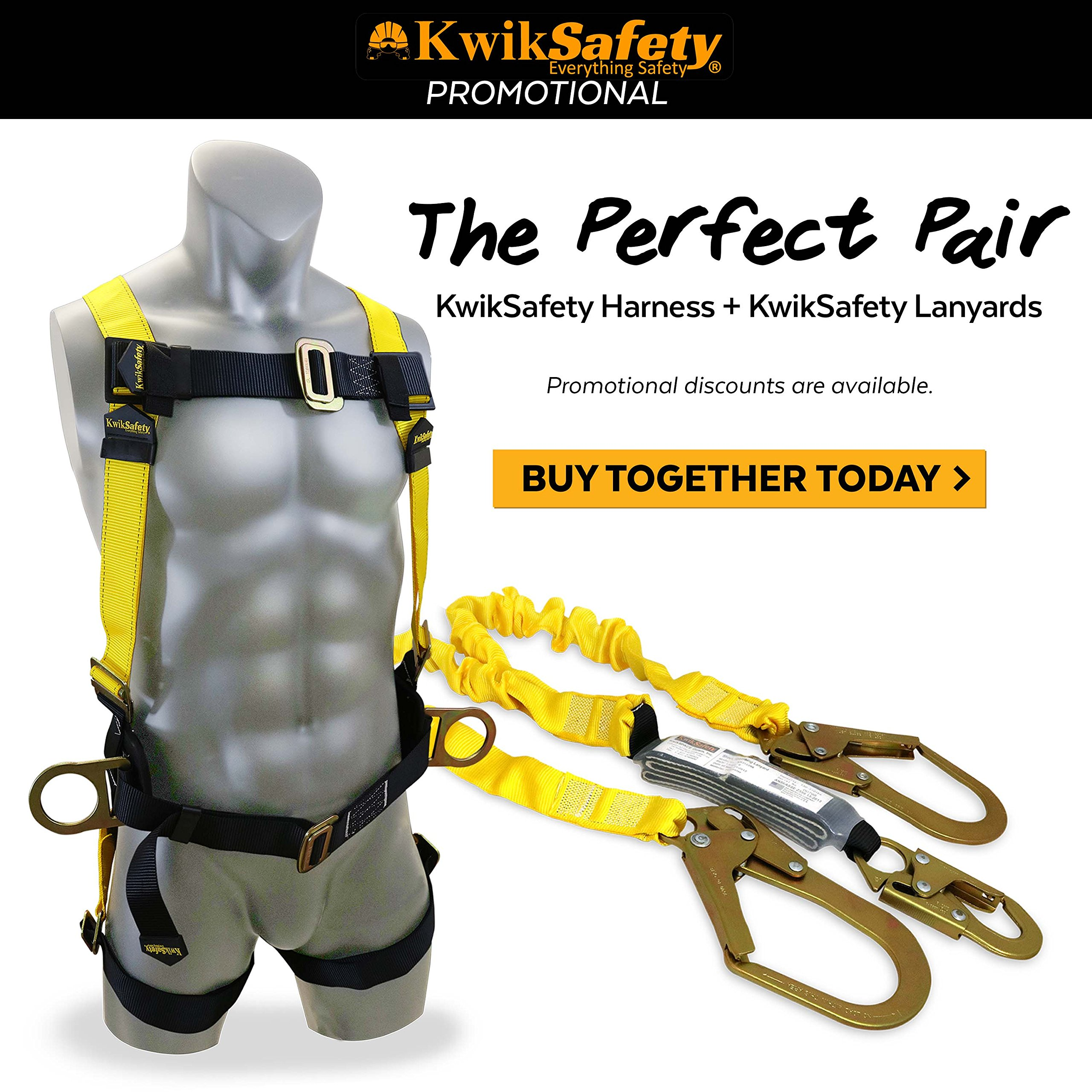 KwikSafety PYTHON   Double Leg 6ft Tubular Stretch Safety Lanyard   OSHA Approved ANSI Compliant Fall Protection   EXTERNAL Shock Absorber   Construction Arborist Roofing   Snap & Rebar Hook Connector by KwikSafety (Image #9)