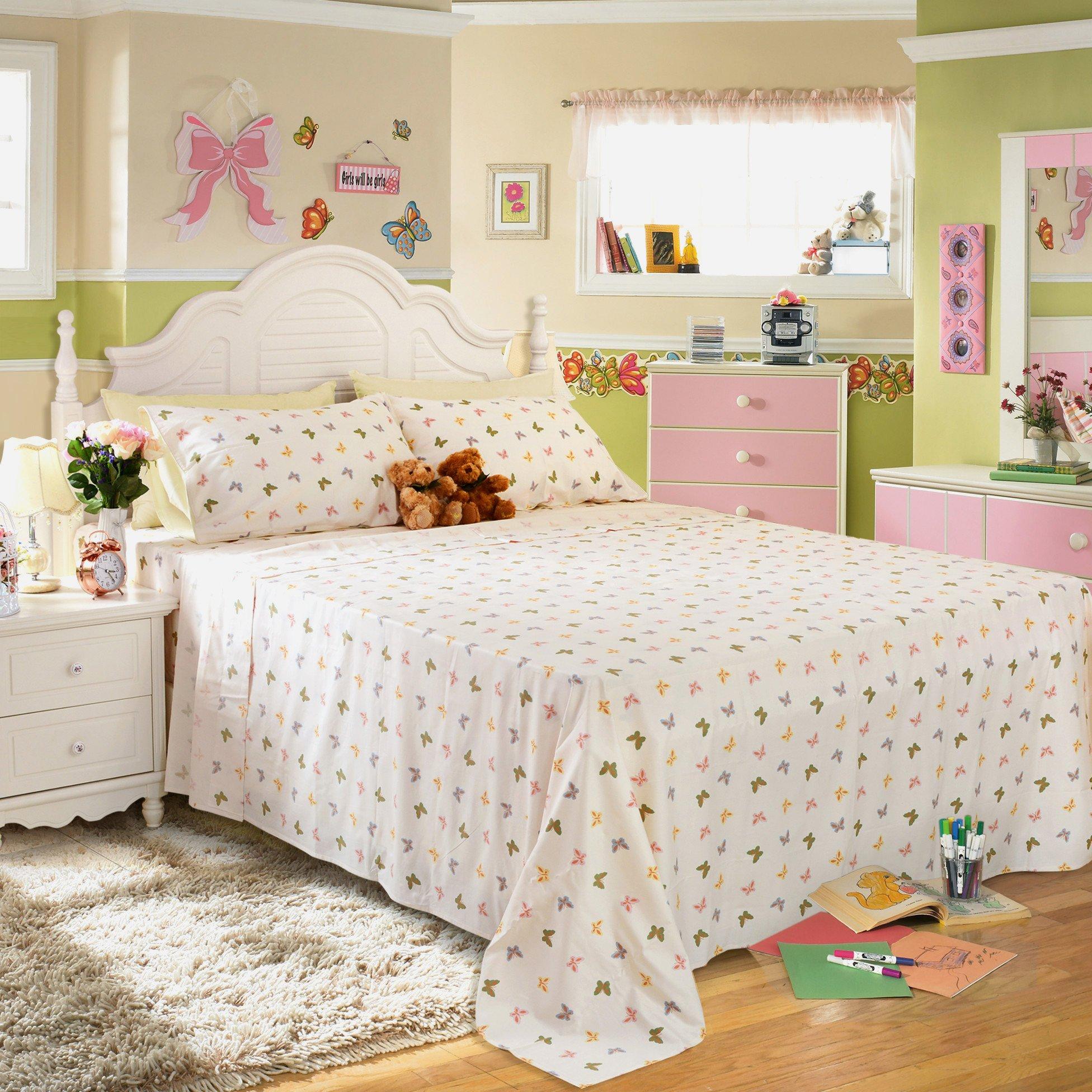Brandream Shabby Butterfly Bedding Girls Bed Sheet Set Romantic Sheets Set Deep Pocket 18 Inch 100% Cotton Bedding Sets King Size-Fitted Sheet Flat Sheet Shams 4Pcs 800TC