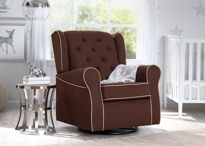 Delta Children Emerson Upholstered Glider Swivel Rocker Chair Cocoa with Beige Welt