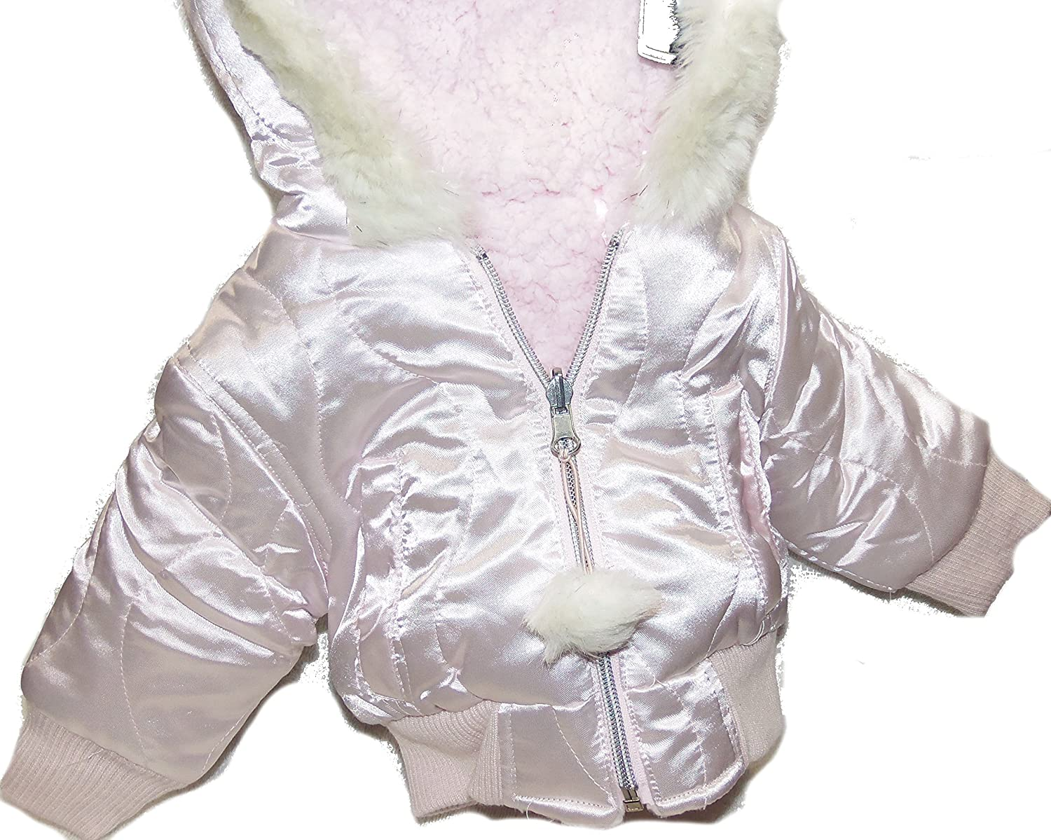 ZLC Collections Baby Girls Pink Snowball Jacket Style 05772 White Fuzzy Hood Lining