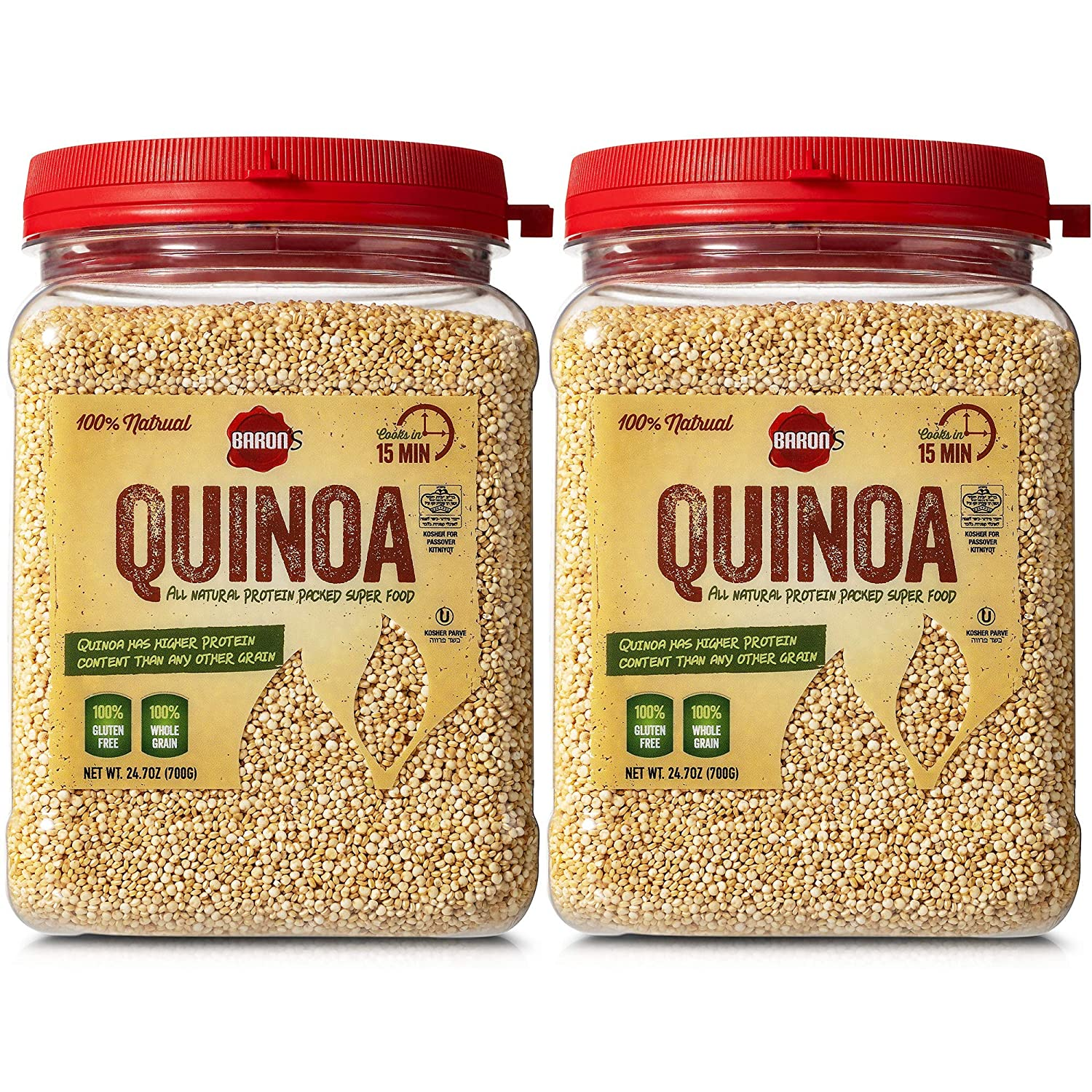 Baron's Whole Grain Gluten Free Quinoa | 100% All Natural Raw Brown Superfood Seeds Cook in 15 Minutes! | Kosher for Passover (Kitniyot), Non GMO, High Protein, Fiber & Iron | [2] 24.7oz Bulk Jars