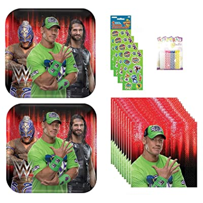 Lobyn Value Pack WWE Party Plates and Napkins Serves 16 With Birthday Candles: Toys & Games