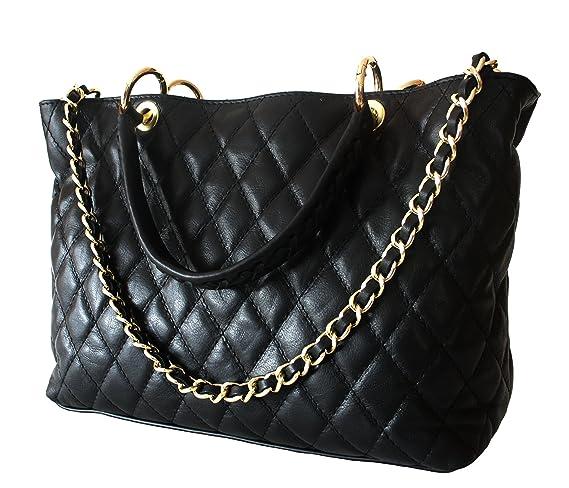 ee7f0faaf52bc Sa-Lucca echt Leder Handtasche Damentasche Shopper Tasche Ledertasche  schwarz gesteppt Ketten MADE IN ITALY  Amazon.de  Bekleidung