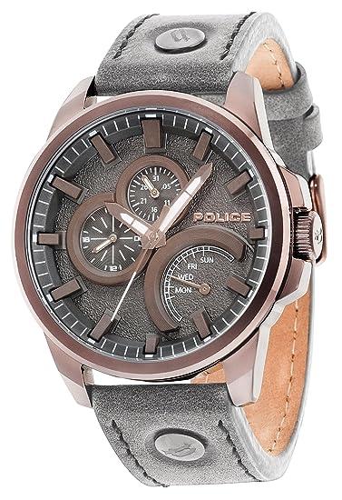 Police Reloj Analogico para Hombre de Cuarzo con Correa en Piel PL14799JSBZ.61: Amazon.es: Relojes