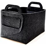 "Xian min lu trade co., LTD Felt Storage Basket Bins(14""×10×""×9""), Collapsible baskets for Home bedroom bathroom Shelves Closet Clothes toy laundry(Dark grey)"