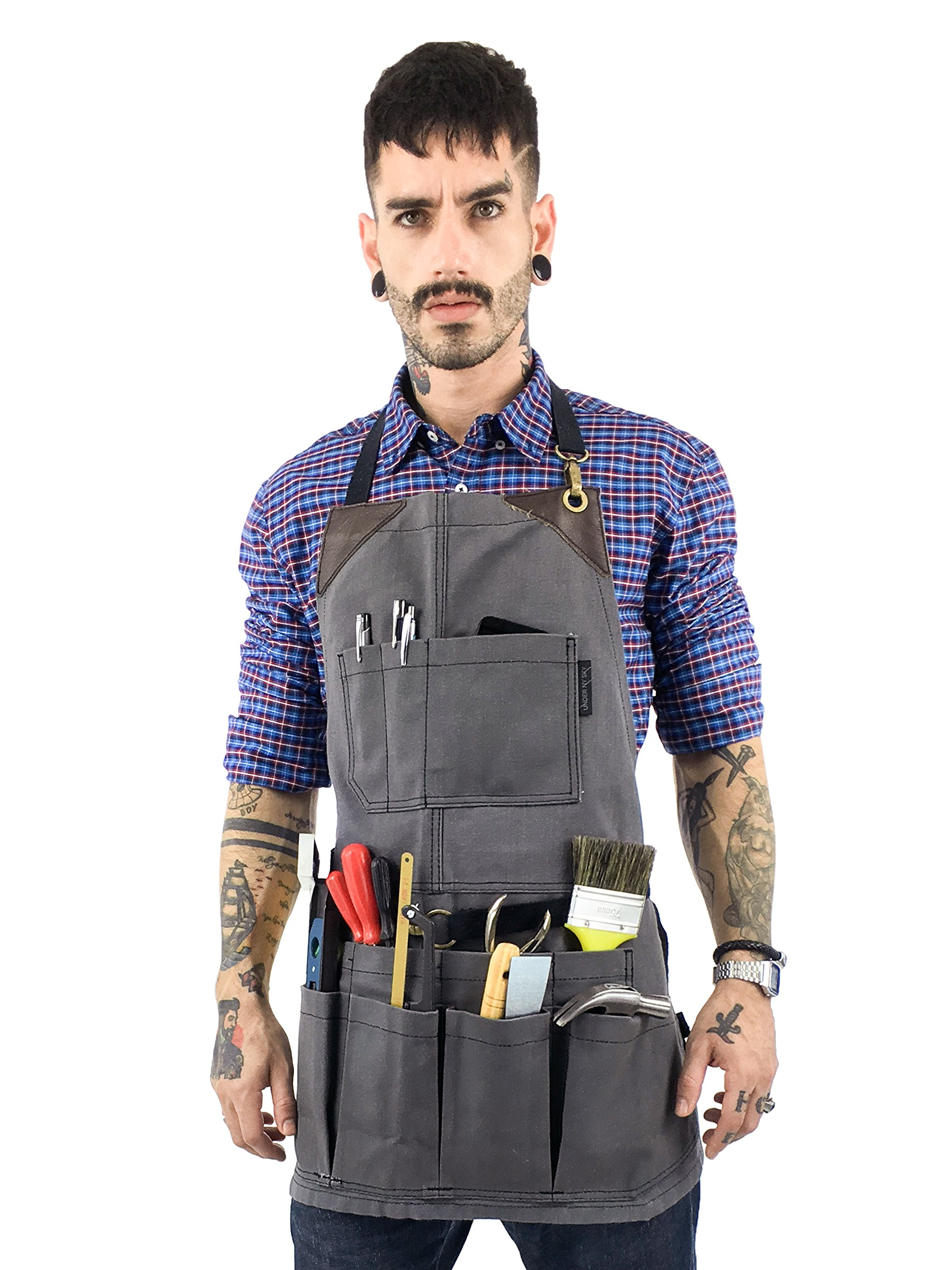 Under NY Sky Tool Gray Apron – Heavy-Duty Waxed Canvas, Leather Reinforcement, Extra Pockets – Adjustable for Men and Women – Pro Mechanic, Woodworker, Blacksmith, Plummer, Electrician, Welder Aprons