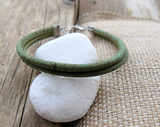 acheter réel top design réflexions sur Bracelet femme en liège vert, bracelet vegan, bijou de ...