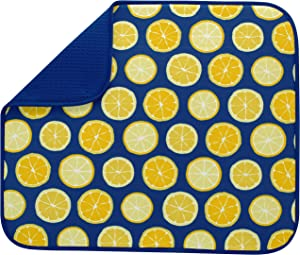 S&T INC. Absorbent, Reversible Microfiber Dish Drying Mat for Kitchen, 16 Inch x 18 Inch, Lemons