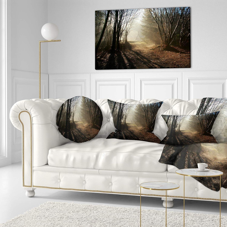 Designart CU9827-20-20-C Dark Path in Fall Foggy Forest Landscape Photography Throw Pillow 20