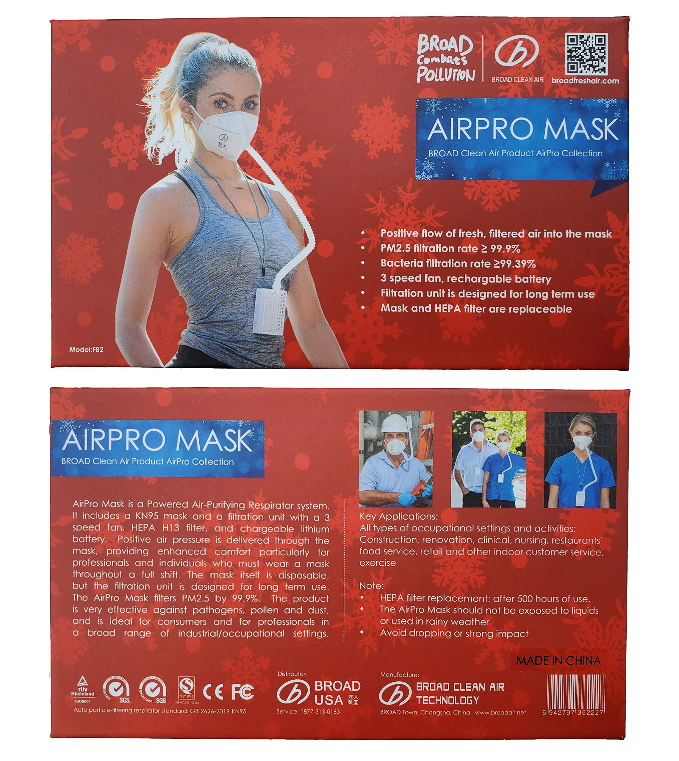 BROAD AirPro Mask Rechargeable Electrical Air Purifying Respirator, Reusable Portable Air Purifier with H13 HEPA Filter