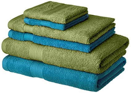 Amazon Brand - Solimo 100% Cotton 6 Piece Towel Set, 500 GSM (Olive Green and Turquoise Blue)