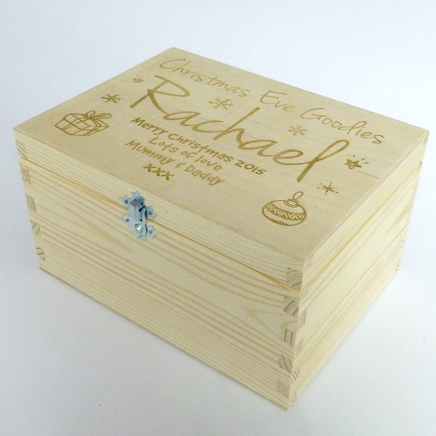 Personalised Christmas Eve Engraved Wooden Treat Gift Box Kids ...