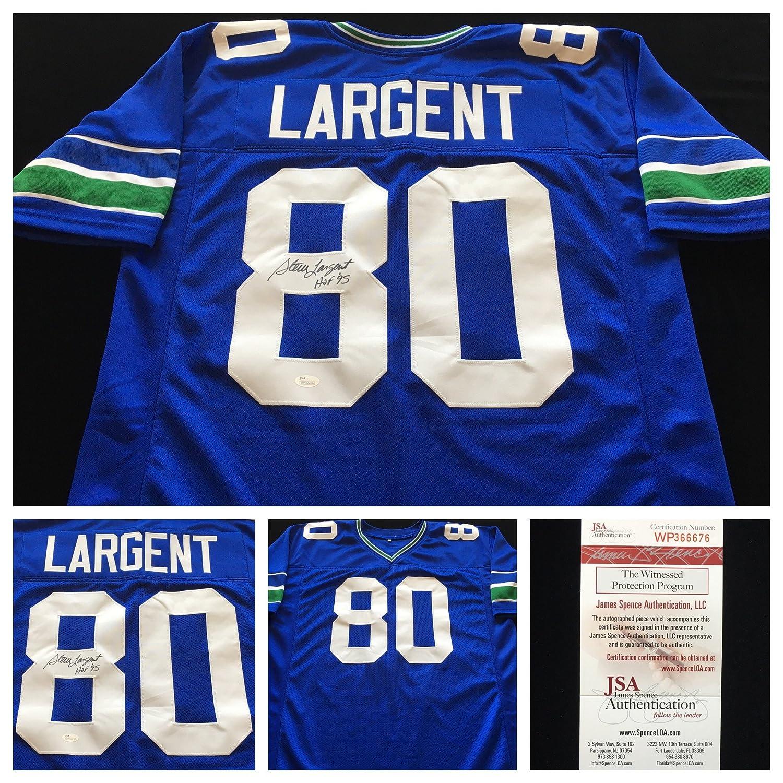 4fa52da3af3 lovely Steve Largent Seattle Seahawks Signed Autograph Blue Jersey. JSA COA