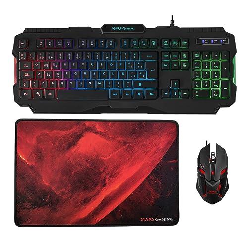 Mars Gaming MCP118 Pack iluminación RGB de teclado ratón y alfombrilla gaming