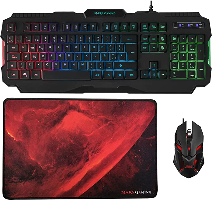 Mars Gaming MCP118, Pack Gaming RGB de Teclado, Ratón y ...