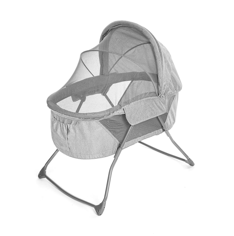 Fillikid Babywiege & portables Babybett - 90 x 40 cm Liegefläche   faltbares Stubenbett mit Verdeck, Matratze, Insektenschutz & Transporttasche - Grau
