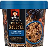 Quaker Real Medleys Oatmeal+, Blueberry Hazelnut, Instant Oatmeal+ Breakfast Cereal (12 Cups) (Packaging May Vary)