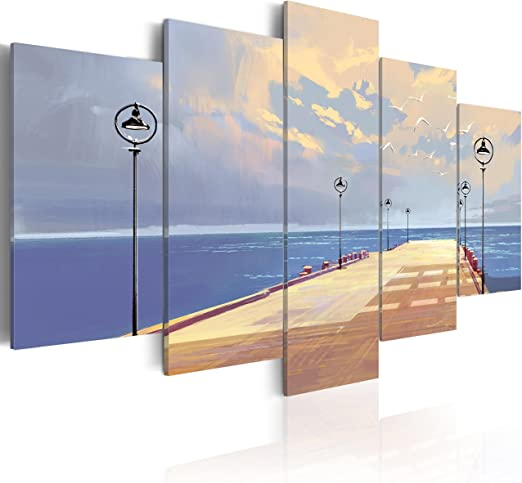 murando - Cuadro en Lienzo 100x50 - Impresión de 5 Piezas Material Tejido no Tejido Impresión Artística Imagen Gráfica Decoracion de Pared Paisaje Naturaleza Mar Muelle c-B-0116-b-m: Amazon.es: Hogar