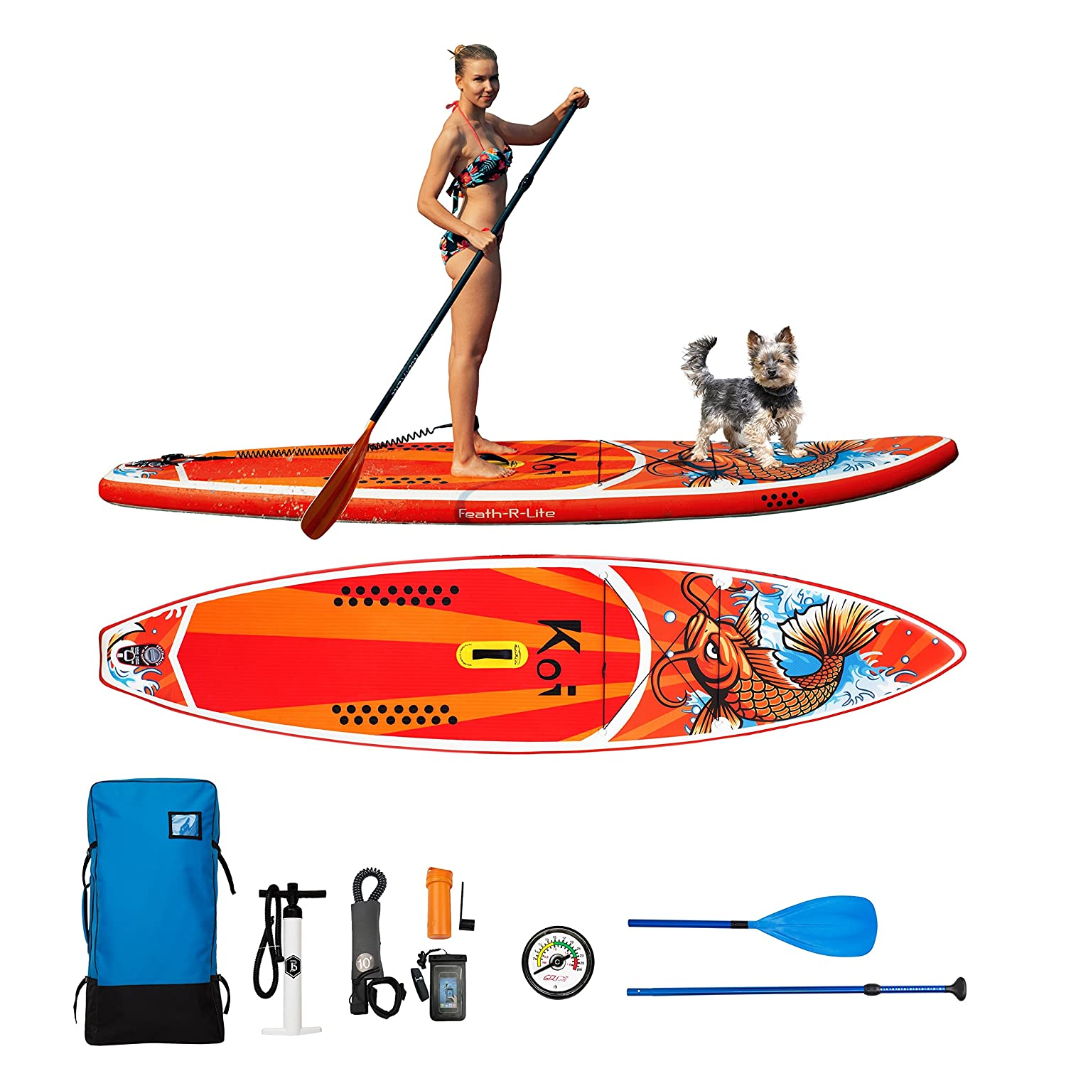 Feath-R-Lite Inflatable Stand Up Paddle Board Includes Pump, Paddle, Backpack, Coil Leash,Fin and Universal Waterproof Case