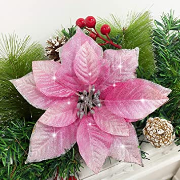 Amazon Com Turnmeon 24 Pack 5 5 Inch Christmas Glitter Poinsettia Artificial Silk Flowers Picks Christmas Tree Ornaments For Gold Christmas Tree Wreaths Garland Holiday Decoration Pink Furniture Decor