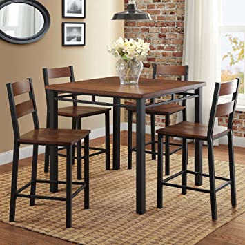 Amazon Com Counter Height Dining Set Table And 4 Chairs Durable Metal Construction Square Shape Footrest Ideal For Family Gathering And Evening Kitchen Oak Finish Expert Guide Table Chair Sets