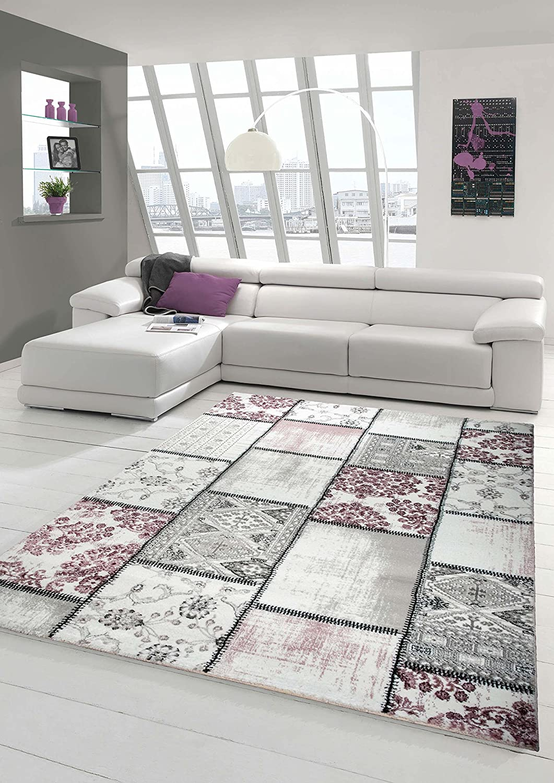 designer teppich wohnzimmer teppich kurzflor muster in grau creme ... - Teppich Wohnzimmer Modern