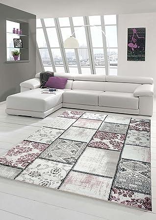 Edler Designer Teppich Moderner Wohnzimmer Patchwork Vintage Meliert Karo Muster In Lila Creme Grau