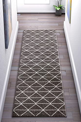 Well Woven Menage Geometric Dark Grey Modern Triangle Tiles Shapes Lines Area Rug 2×7 2 3 x 7 3 Runner Carpet