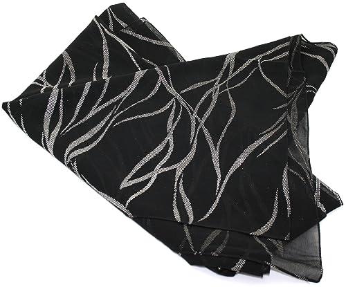 Ex-Store –  Pashmina  – Donna Nero  Black & Silver Taglia unica