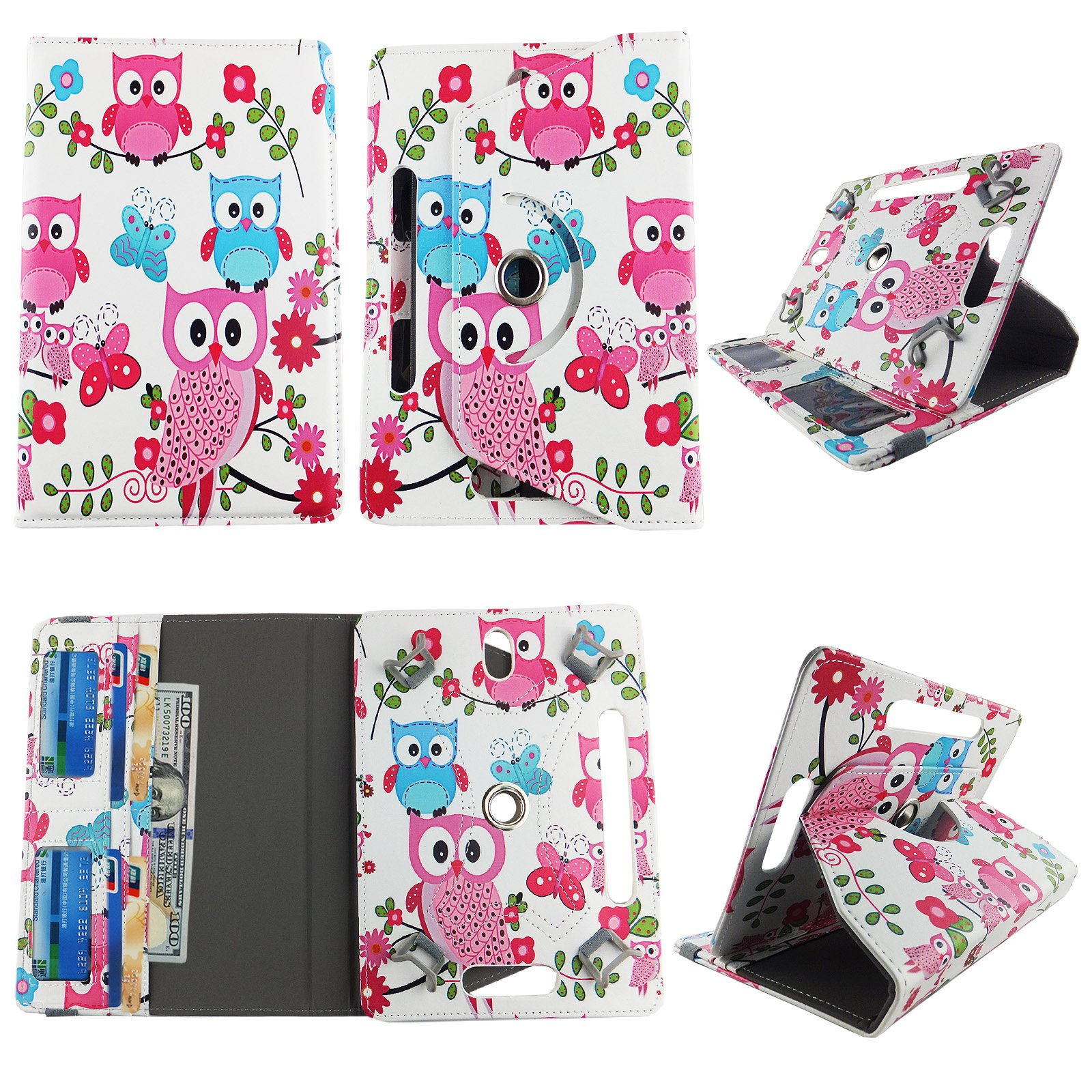 Blue Pink Owl Butterfly tablet case 8 inch for Ellipsis 8'' 8inch android tablet cases 360 rotating slim folio stand protector pu leather cover travel e-reader cash slots