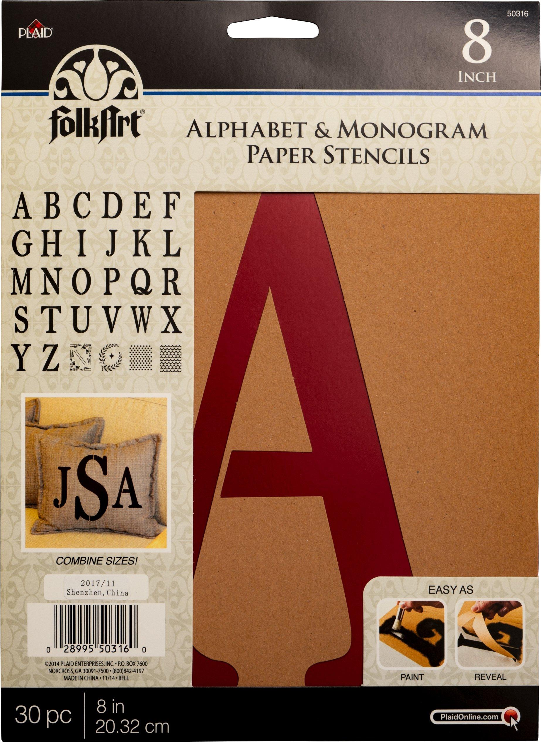 Plaid PLA50316 Stencil Folk-Art Paper Alphabet & Monogram Serif, 8''