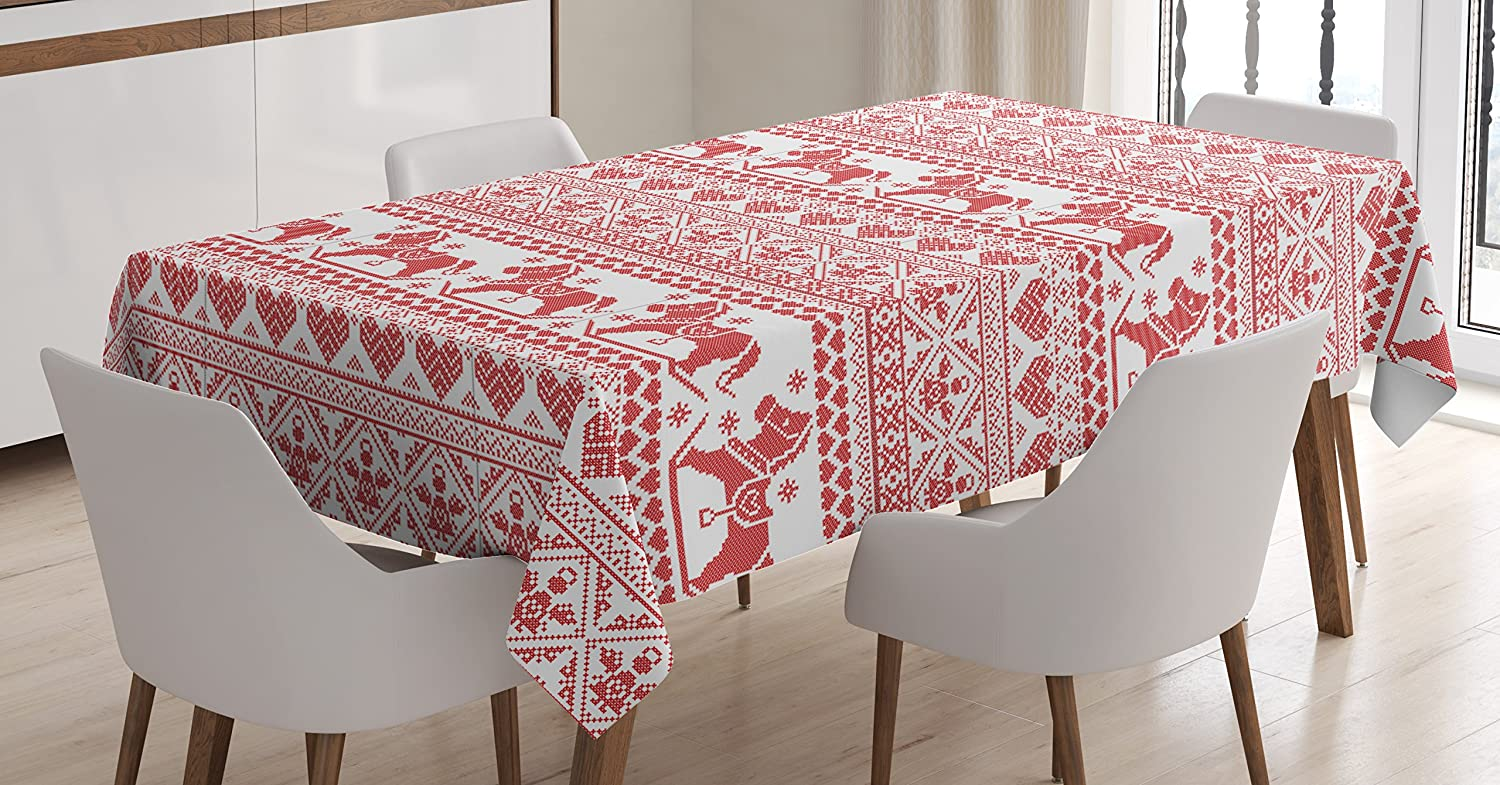 Ambesonne Nordic Tablecloth, Horses Hearts and Angels Norwegian Festive Motifs Cross Stitch Pattern Winter, Dining Room Kitchen Rectangular Table Cover, 60