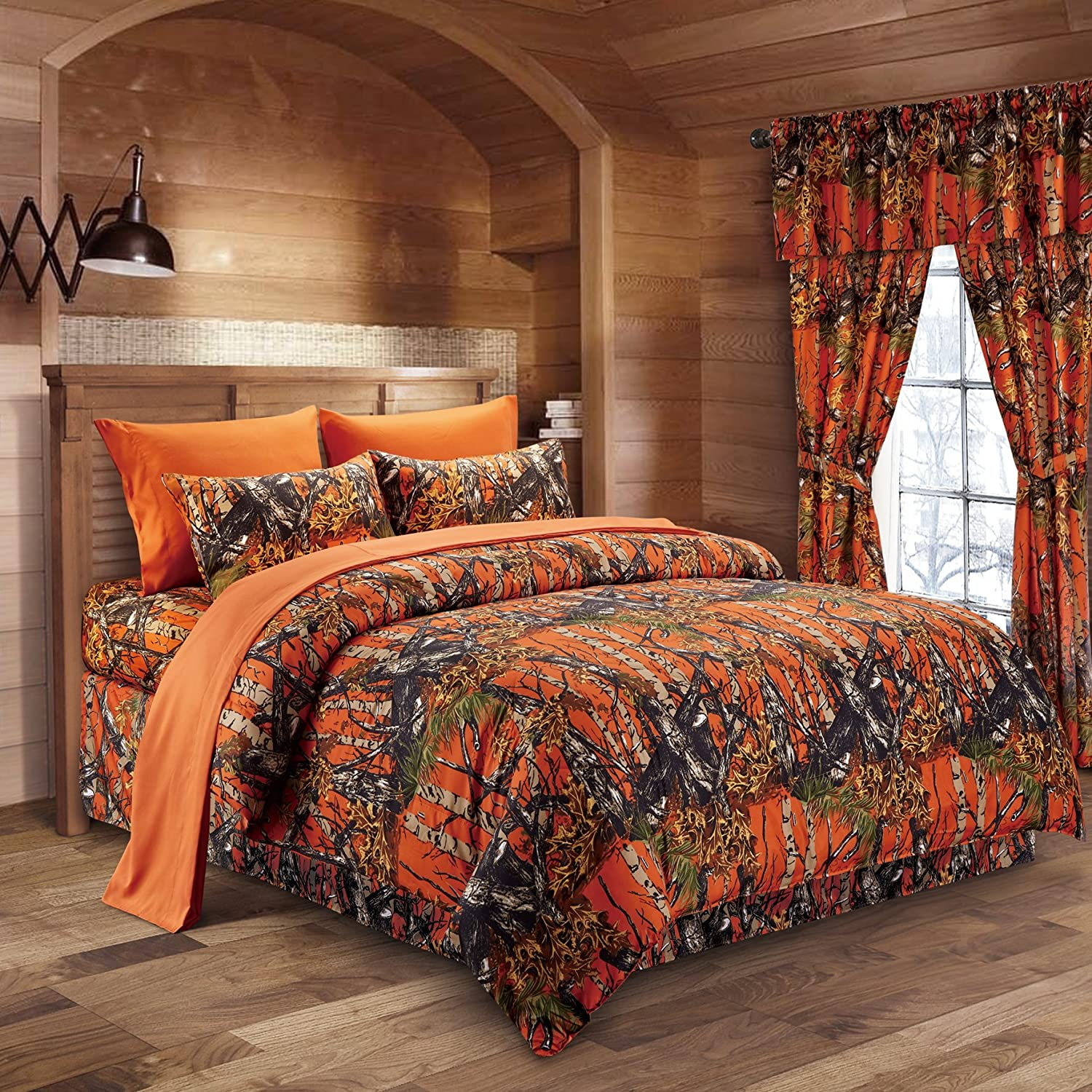 The Woods Orange Camouflage Queen 8pc Premium Luxury Comforter