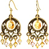 Body Candy Handcrafted Gold Plated Yellow Chandelier Earrings Created with Swarovski Crystals