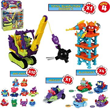 SuperZings Serie 4 - Total Demolition Mission 2 y Pack Sorpresa con 15 Sets | Contiene Blíster Total Demolition, 10 Sobres One Pack, 4 BlasterJets y 1 MegaJet | Juguetes y Regalos para Niños: Amazon.es: Juguetes y juegos