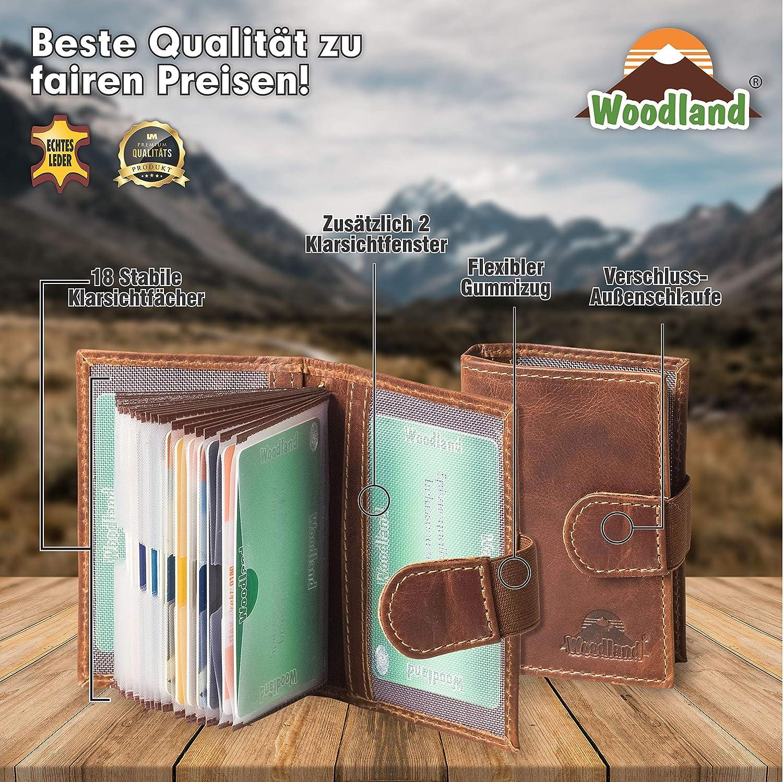 Woodland /Étui /à Cartes de cr/édit XXL avec Protection RFID//NFC pour 18 Cartes de cr/édit en Cuir de Vachette Multicolore Cognac