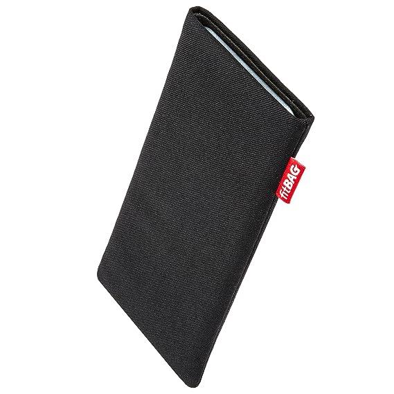 fitBAG Rave Schwarz Handytasche Tasche aus Textil-Stoff mit Microfaserinnenfutter für Fairphone 2 Slim 2016 | Hülle mit Reini