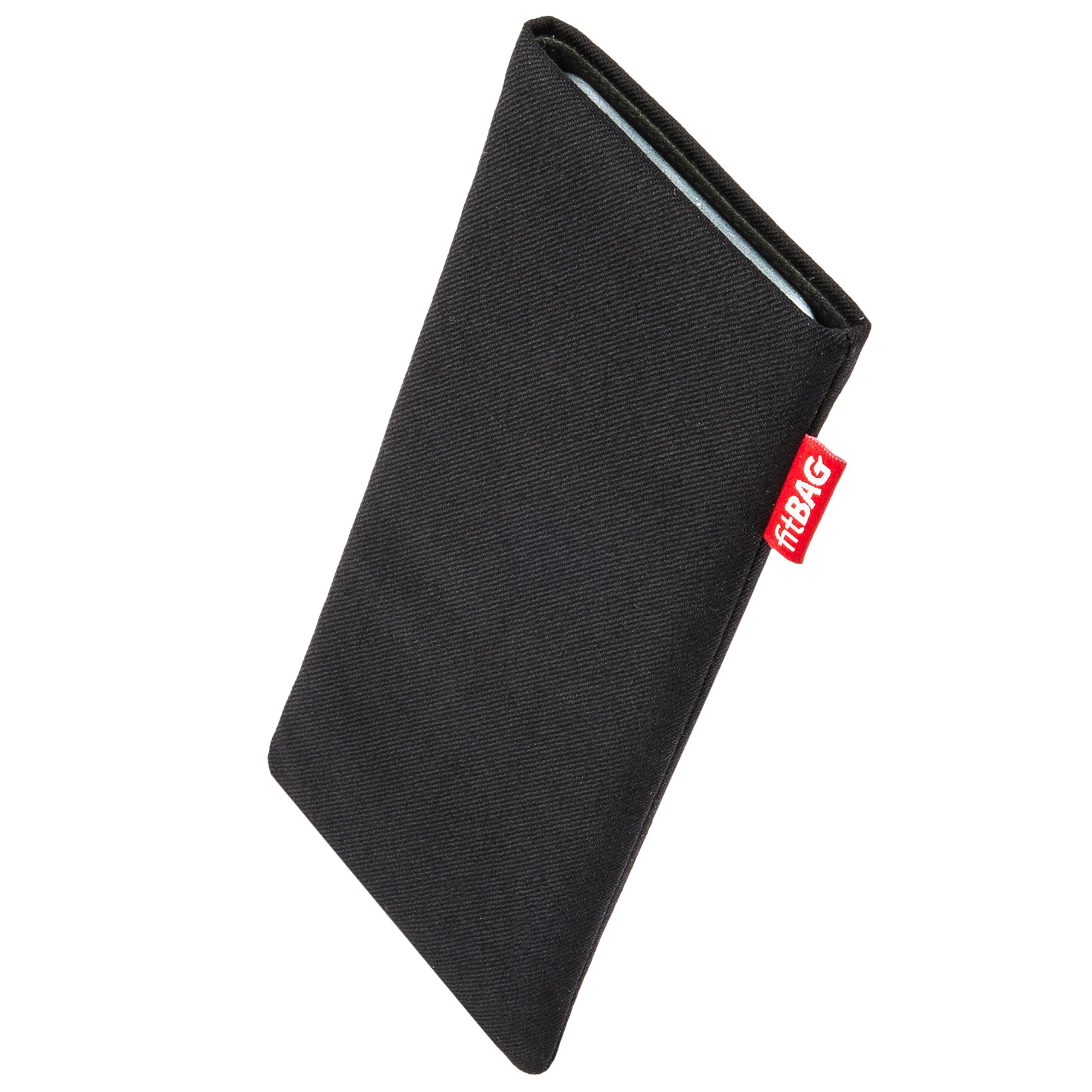 fitBAG Rave Black Custom Tailored Sleeve for Apple iPhone X/Xs | Made in Germany | Fine Suit Fabric Pouch case Cover with Microfibre Lining for Display Cleaning