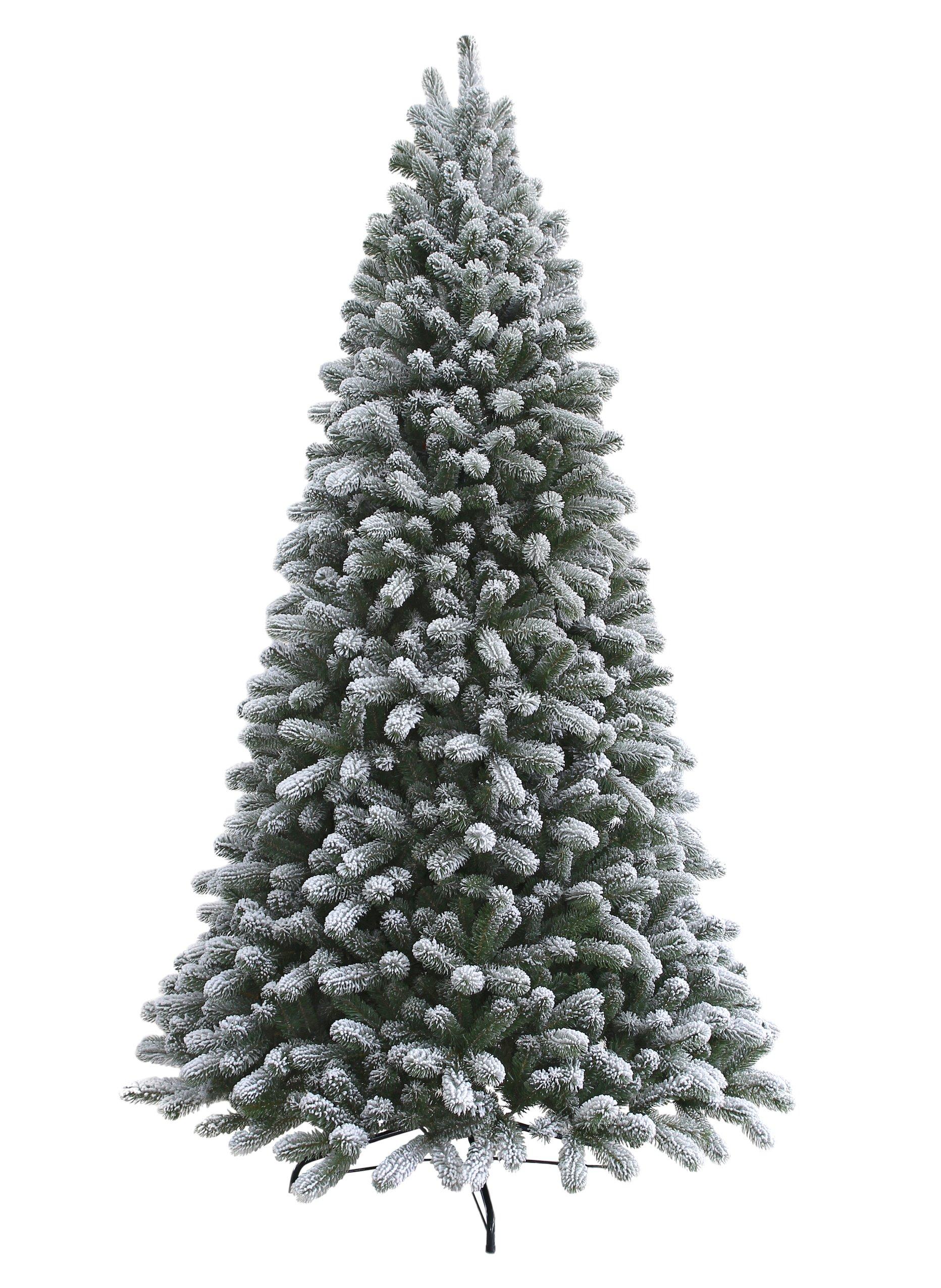 KING OF CHRISTMAS 7.5 Foot King Flock Christmas Tree Unlit, 52'' Wide