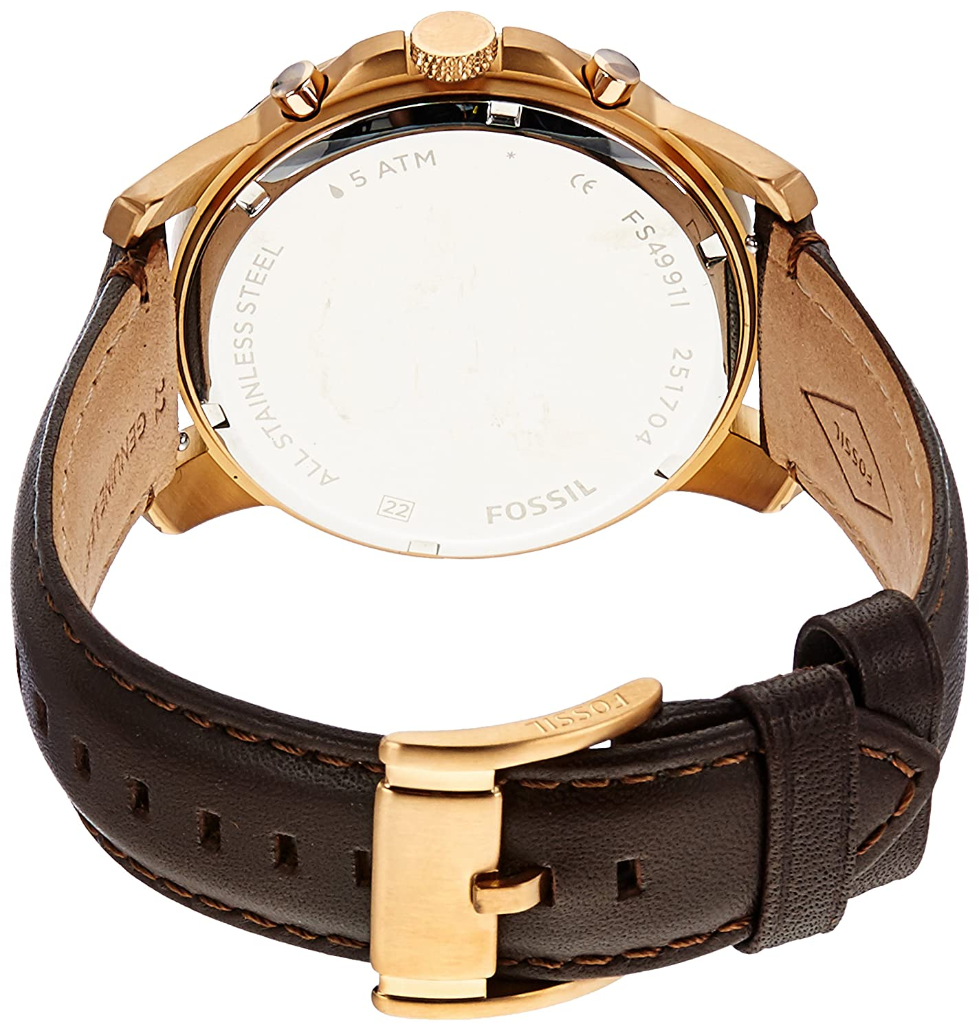 fad1bb7ce Amazon.com: Fossil Men's Grant Quartz Stainless Steel and leather Dress  Watch Color: Rose gold, Brown (Model: FS4991IE): Watches