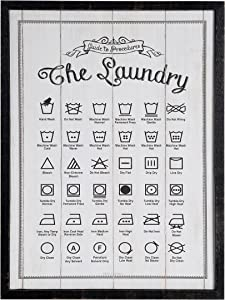 NIKKY HOME Wooden Framed Wall Hanging Laundry Guide Plaque Sign for Laundry Room