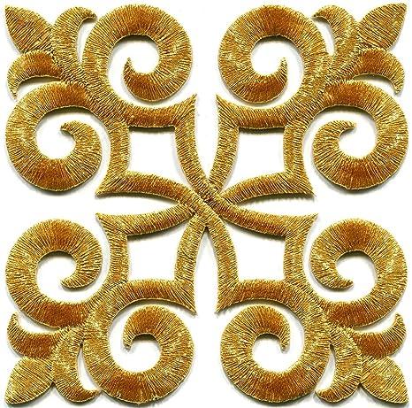 Borde dorado Fleur De Lis Fringe Boho Retro adornos de costura Sew bordado apliques para planchar