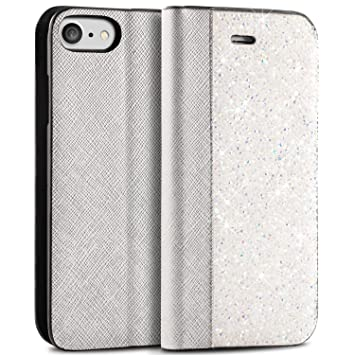 competitive price d4120 499ef iPhone 7 Flip Case, iPhone 8 Case BlingZ.® 3D Swarovski Elements Crystal  Bling Bling Flip Leather Phone Case Cover for iPhone 7 - Porcelain White
