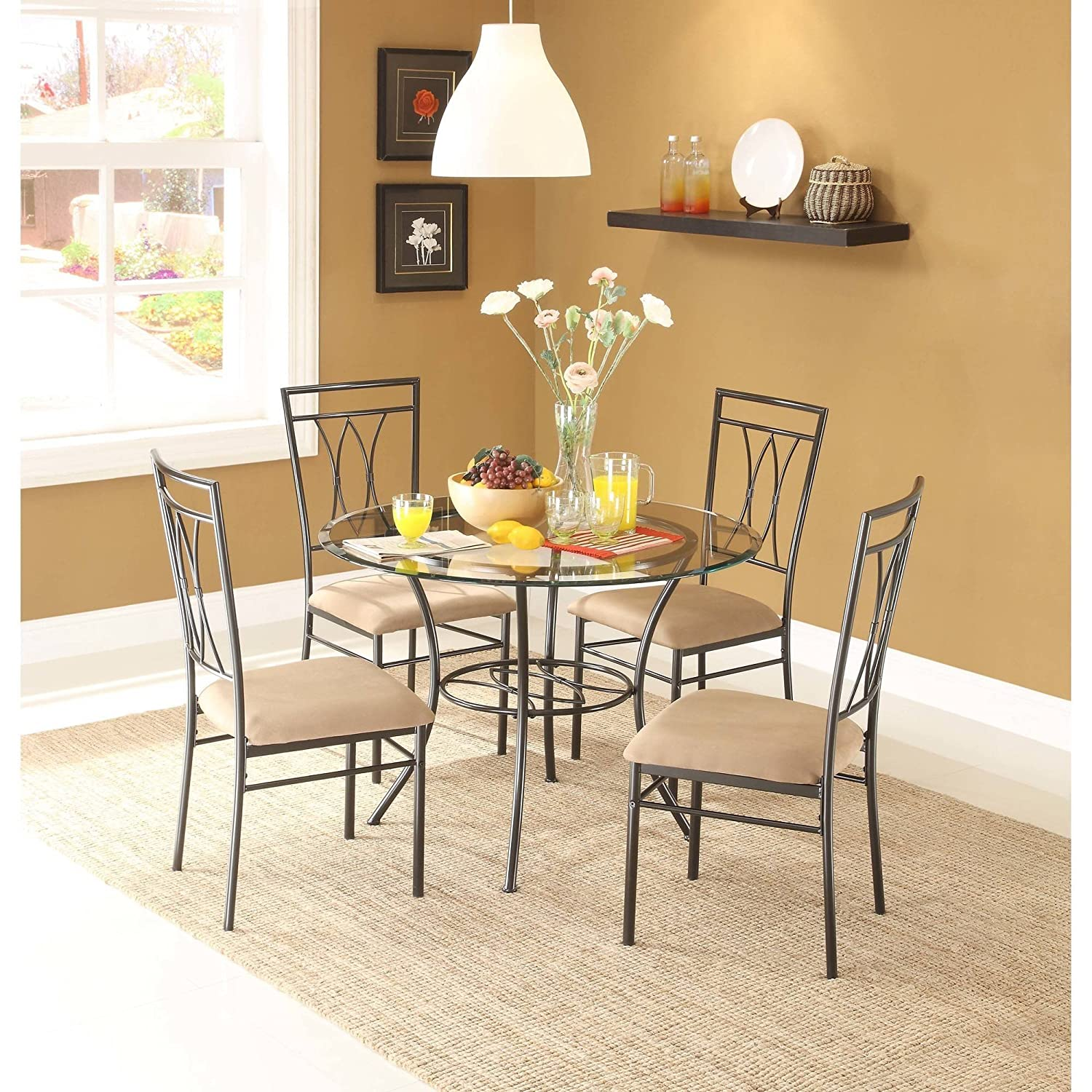 Dining set metal chairs kitchen table furniture modern wood 4 breakfast 5 piece stylish apartment home side table size 42l x 42w x 30h