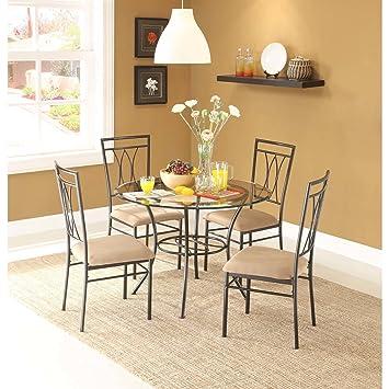 Amazon.com: Juego de comedor sillas de metal mesa de cocina ...